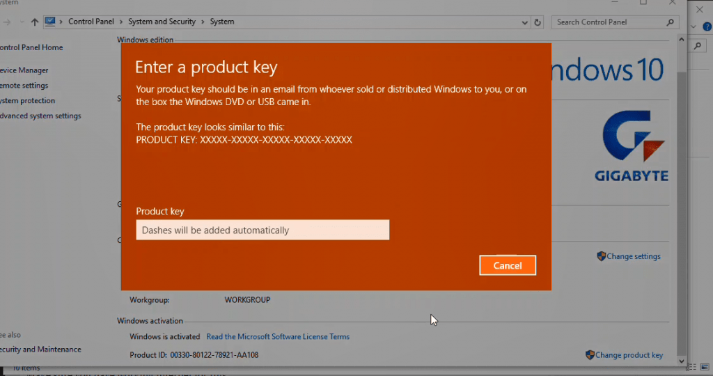 activate window 10 using product key