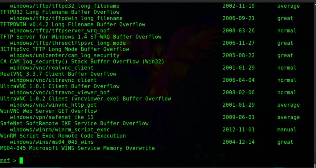 exploits present in metasploit