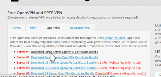 chosing openvpn from vpnbook