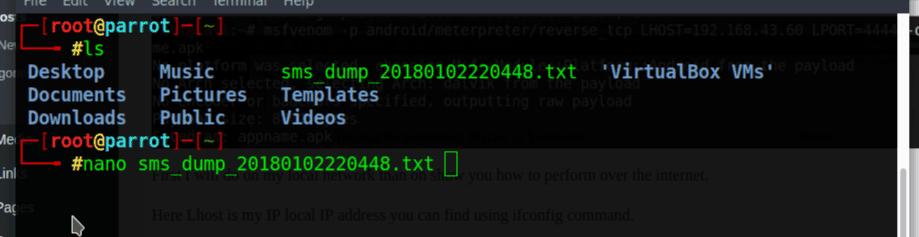 sms dump file