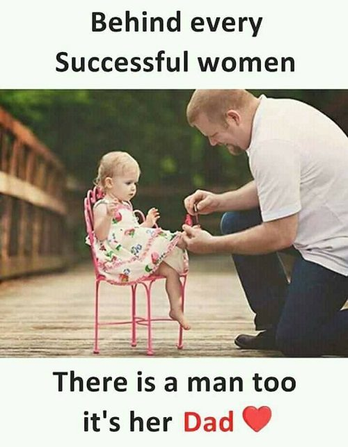 Behind every successful woman, There is man too it's her dad: whatsapp photo status : a very simple cute girl baby with his dad. Baby is setting on the chair