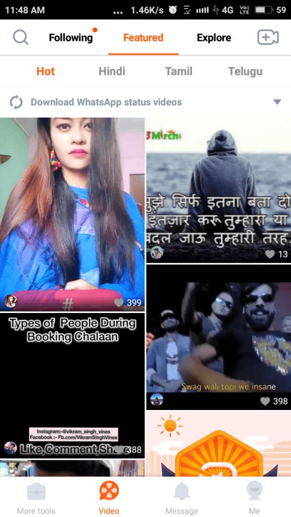 whatsapp status within viva video