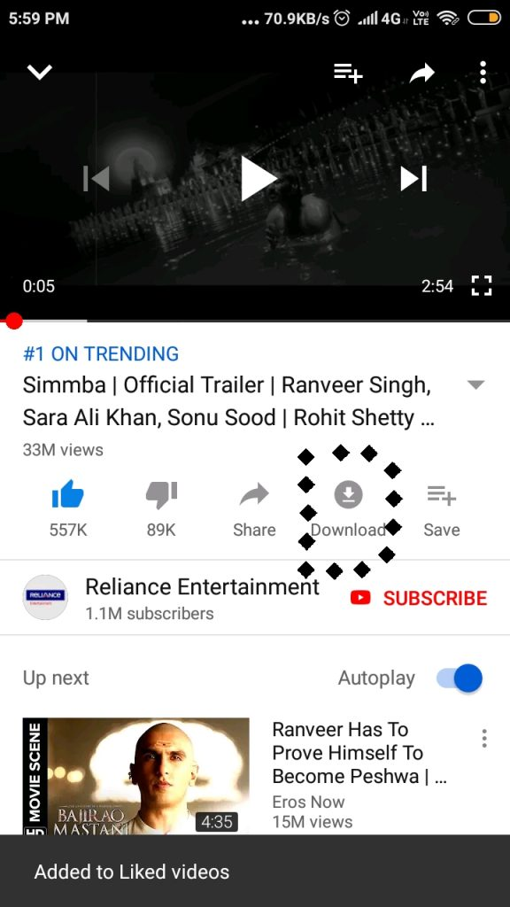 youtube download button in app