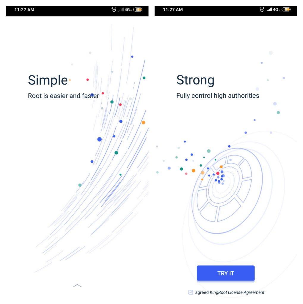 opening kingroot app