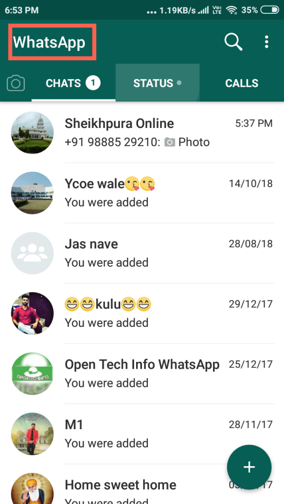 whatsapp open Hide chat