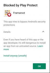 Framaroot Security Warning