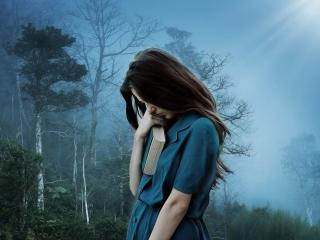 girl alone black hair weeping