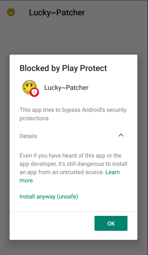 warning while installing lucky patcher app