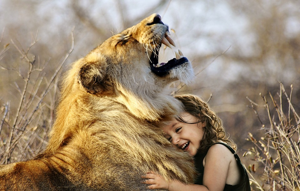 lion with girl