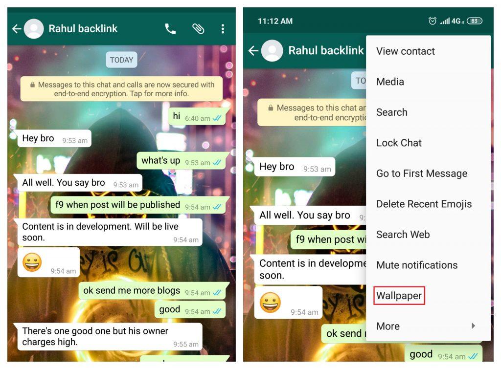 whatsapp wallpaper changing